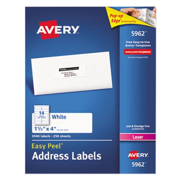 "Avery 5962 1 1/3"" x 4"" Easy Peel White Mailing Address Labels - 3500/Box"