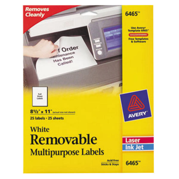 "Avery 6465 8 1/2"" x 11"" White Full-Sheet Removable ID Labels - 25/Pack Main Image 1"