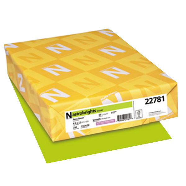 """Astrobrights 22781 8 1/2"""" x 11"""" Terra Green Pack of 65# Smooth Color Paper Cardstock - 250 Sheets Main Image 1"""