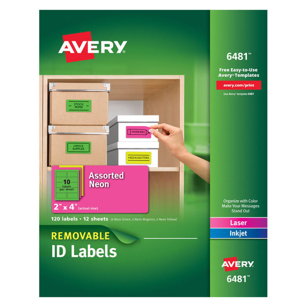 "Avery 6481 2"" x 4"" Assorted Neon Color Removable ID Labels - 120/Pack"