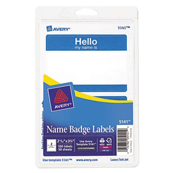 "Avery 5141 2 1/3"" x 3 3/8"" Blue ""Hello"" Printable Self-Adhesive Name Badges - 100/Pack Main Image 1"