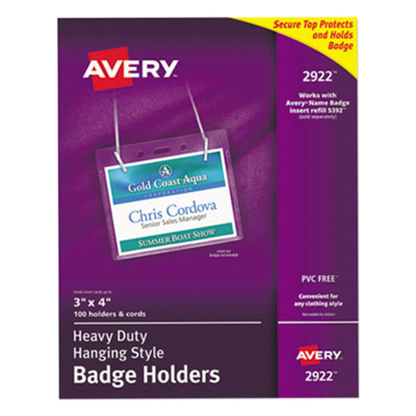 """Avery 2922 4"""" x 3"""" Clear Horizontal Hanging-Style Badge Holders - 100/Pack Main Image 1"""
