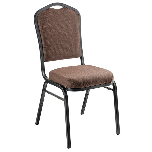 "Individual Chair National Public Seating 9361-BT Brown Stackable Chair with 2"" Padded Seat"