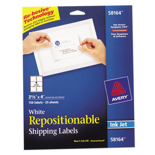 """Avery 58164 3 1/3"""" x 4"""" White Repositionable Shipping Labels - 150/Pack Main Image 1"""