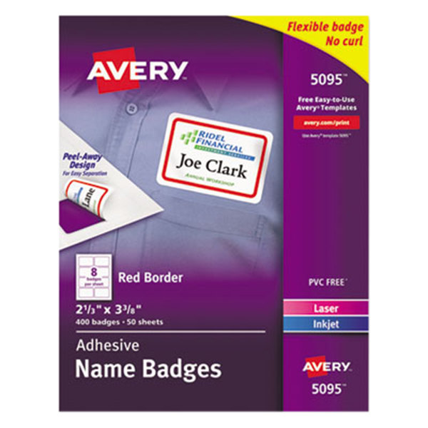"""Avery 5095 2 1/3"""" x 3 3/8"""" Flexible Self-Adhesive Laser/Inkjet Name Badge Labels with Red Border - 400/Pack"""