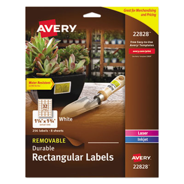 "Avery 22828 1 1/4"" x 1 3/4"" Glossy White Rectangular Removable Labels - 256/Pack"
