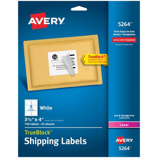 "Avery 5264 TrueBlock 3 1/3"" x 4"" White Shipping Labels - 150/Pack Main Image 1"