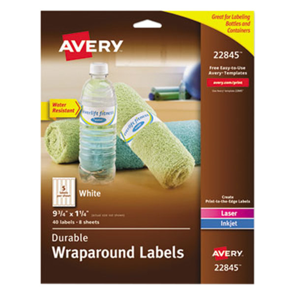 "Avery 22845 1 1/4"" x 9 3/4"" White Water-Resistant Wraparound Labels - 40/Pack"