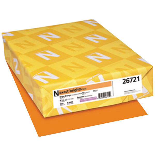 "Neenah 26721 Exact Brights 8 1/2"" x 11"" Bright Orange Ream of 20# Copy Paper - 500 Sheets"