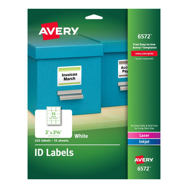 """Avery 6572 2"""" x 2 5/8"""" White Permanent ID Labels - 225/Pack"""