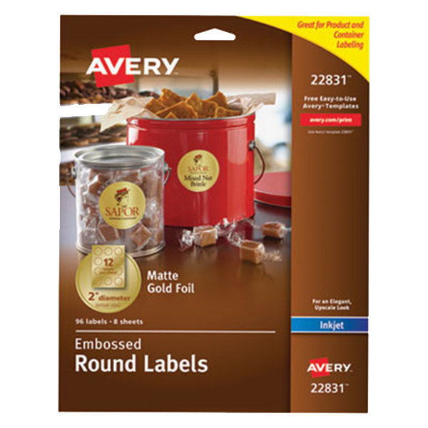 "Avery 22831 Easy Peel 2"" Gold Embossed Matte Round Foil Labels - 96/Pack"