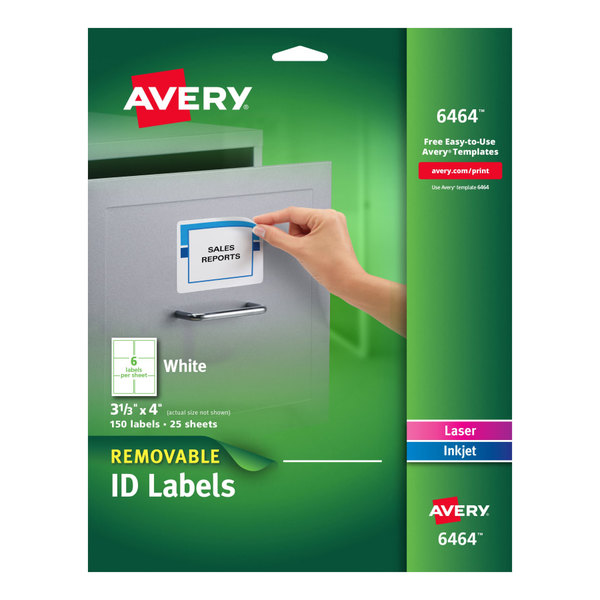 "Avery 6464 3 1/3"" x 4"" White Removable ID Labels - 150/Pack Main Image 1"