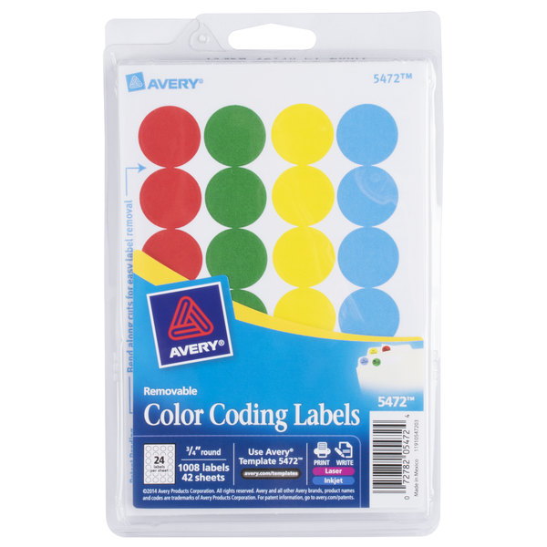 Avery 5472 34 Assorted Colors Round Removable Write On Printable