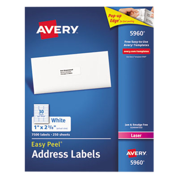 "Avery 5960 1"" x 2 5/8"" Easy Peel White Mailing Address Labels - 7500/Box"