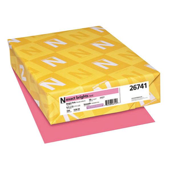 "Neenah 26741 Exact Brights 8 1/2"" x 11"" Bright Pink Ream of 20# Copy Paper - 500 Sheets"