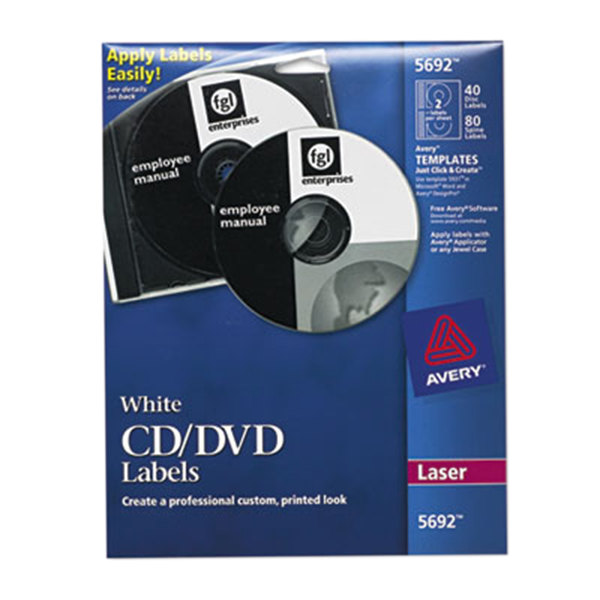 Avery 5692 Matte White CD / DVD Labels - 40/Pack Main Image 1