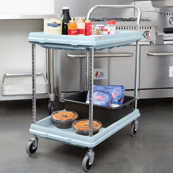 Excellent Metro BC2030-2DMB Utility Cart with Two Deep Ledge Shelves and  ET85