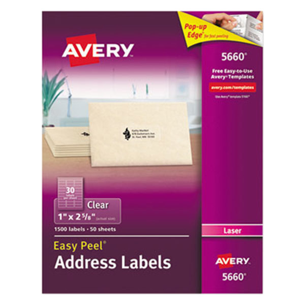 """Avery 5660 1"""" x 2 5/8"""" Easy Peel Clear Mailing Address Labels - 1500/Box Main Image 1"""