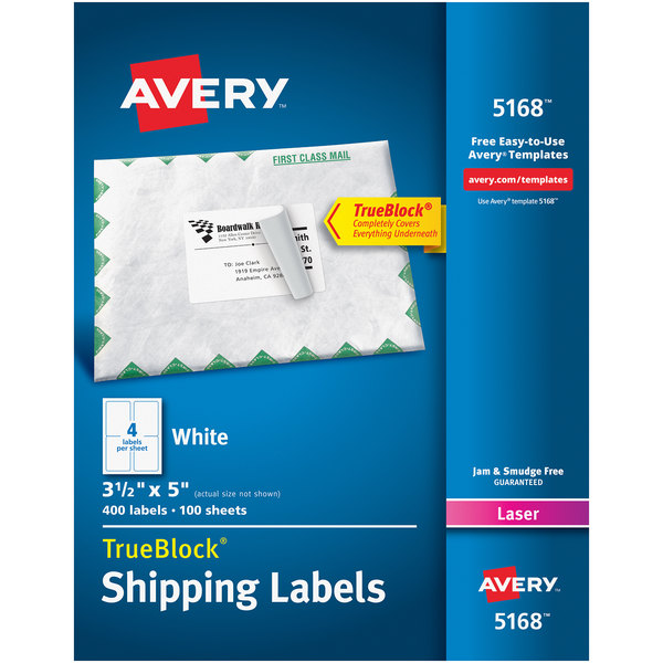 "Avery 5168 TrueBlock 3 1/2"" x 5"" White Shipping Labels - 400/Box"