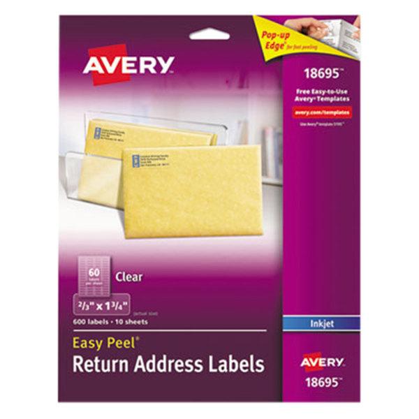 """Avery 18695 Easy Peel 2/3"""" x 1 3/4"""" Clear Inkjet Printer Return Address Labels - 600/Pack Main Image 1"""
