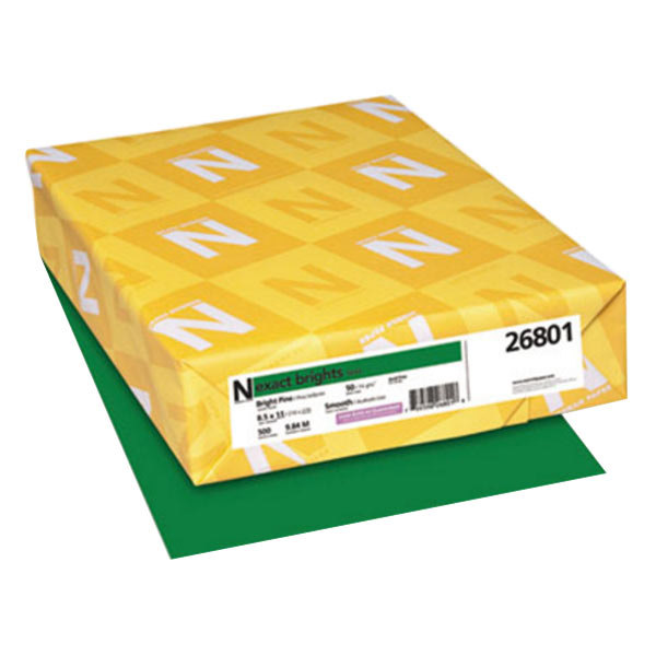 "Neenah 26801 Exact Brights 8 1/2"" x 11"" Bright Pine Ream of 20# Copy Paper - 500 Sheets Main Image 1"