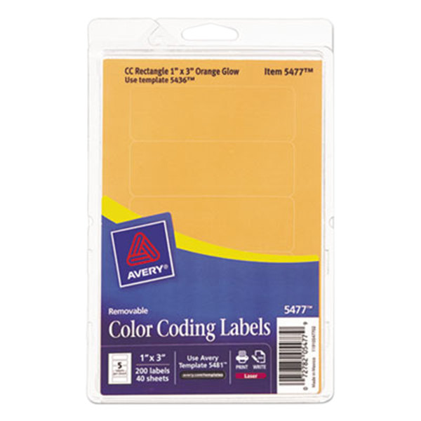 """Avery 5477 1"""" x 3"""" Neon Orange Rectangular Removable Write-On / Printable Labels - 200/Pack"""