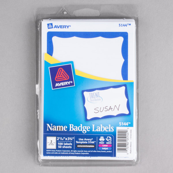 Avery 5144 2 1/3 inch x 3 3/8 inch Printable Self-Adhesive Name Badges with Blue Border - 100/Pack