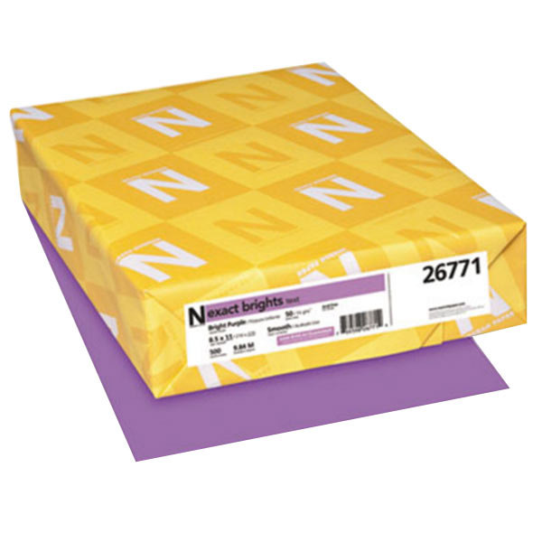 "Neenah 26771 Exact Brights 8 1/2"" x 11"" Bright Purple Ream of 20# Copy Paper - 500 Sheets Main Image 1"