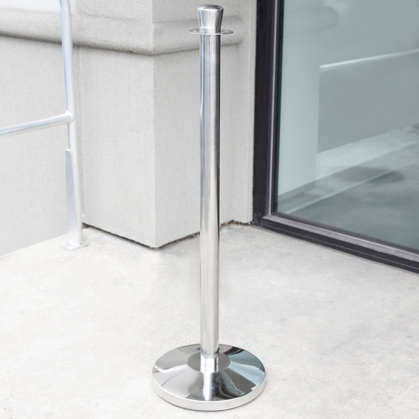 "Lancaster Table & Seating Silver 40"" Crown Top Rope-Style Crowd Control/ Guidance Stanchion"