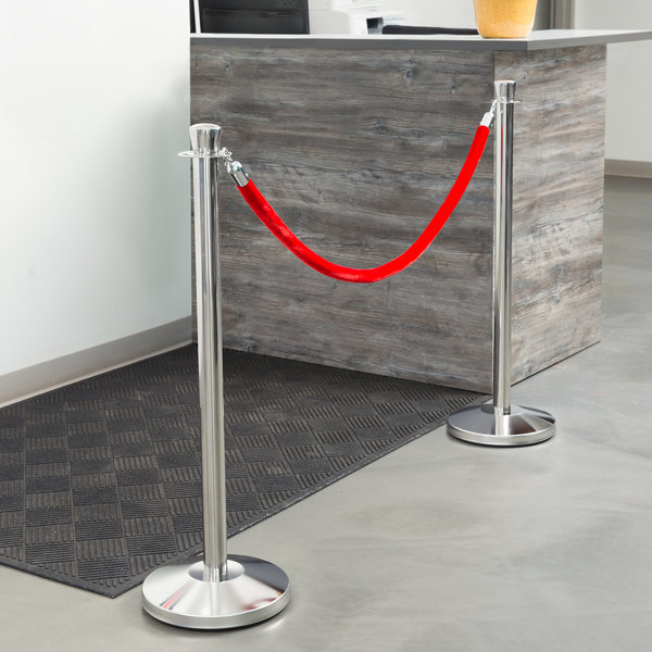 """Lancaster Table & Seating Stainless Steel 40"""" Crown Top Rope-Style Crowd Control/ Guidance Stanchion"""