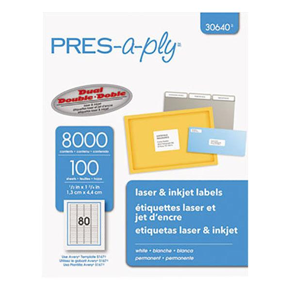 "Avery 30640 1/2"" x 1 3/4"" White Laser/Inkjet Address Labels - 8000/Box"