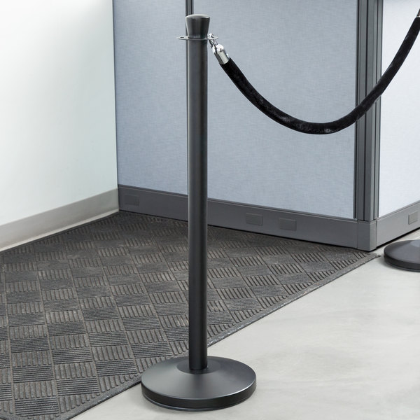 "Lancaster Table & Seating Black 40"" Crown Top Rope-Style Crowd Control / Guidance Stanchion"