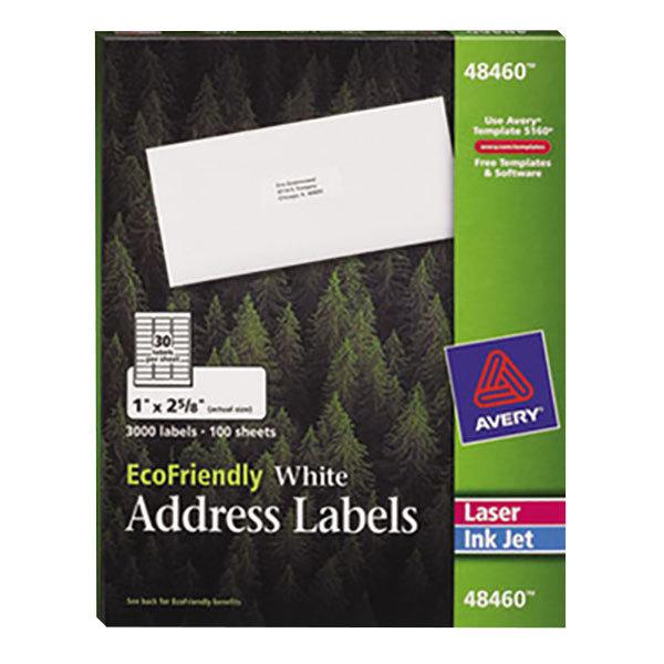 "Avery 48460 EcoFriendly 1"" x 2 5/8"" White Easy Peel Mailing Labels - 3000/Box Main Image 1"