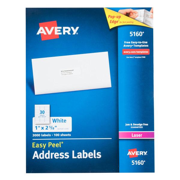 Avery 5160 1 X 2 58 White Easy Peel Mailing Address Labels 3000box