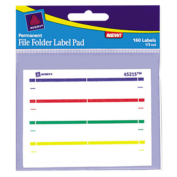 """Avery 45215 2/3"""" x 3 7/16"""" Assorted Permanent File Folder Label Pads - 160/Pack Main Image 1"""