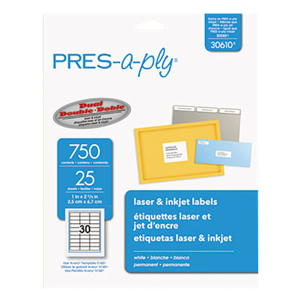 """Avery 30610 1"""" x 2 5/8"""" White Laser Address Labels - 750/Pack Main Image 1"""