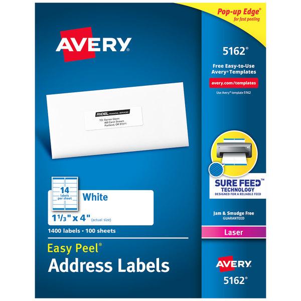 "Avery 5162 1 1/3"" x 4"" White Easy Peel Mailing Address Labels - 1400/Box Main Image 1"