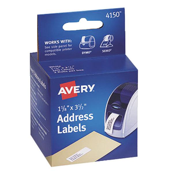 "Avery 4150 1 1/8"" x 3 1/2"" White Thermal Address Labels - 260/Box"