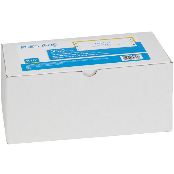 "Avery 30721 1 7/16"" x 4"" White Dot Matrix Address Labels - 5000/Box"