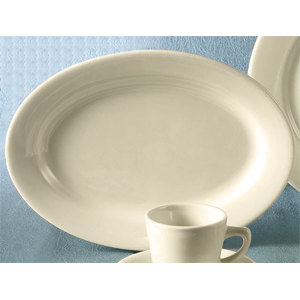 CAC REC-19 13 1/2 inch x 9 1/4 inch Ivory (American White) Wide Rim Rolled Edge China Platter - 12/Case