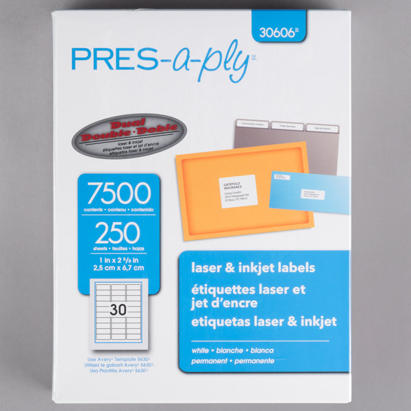 avery 30606 1 x 2 5 8 white laser address labels 7500 box