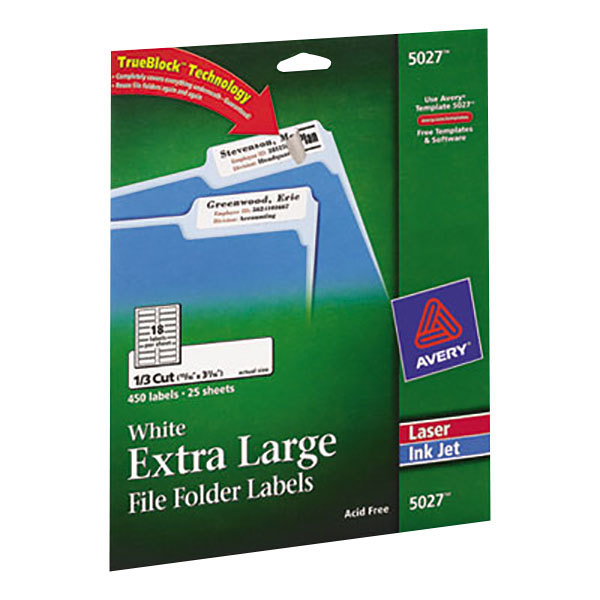 "Avery 5027 15/16"" x 3 7/16"" White X-Large Top Tab 1/3 Cut File Folder Labels - 450/Pack"