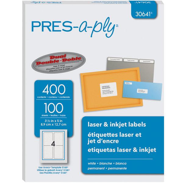 "Avery 30641 3 1/2"" x 5"" White Laser/Inkjet Shipping Labels - 400/Pack Main Image 1"