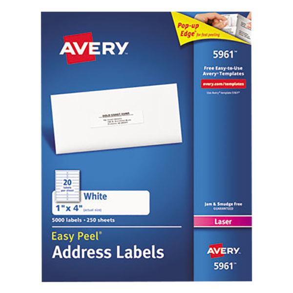 "Avery 5161 1"" x 4"" White Easy Peel Mailing Address Labels - 2000/Box"