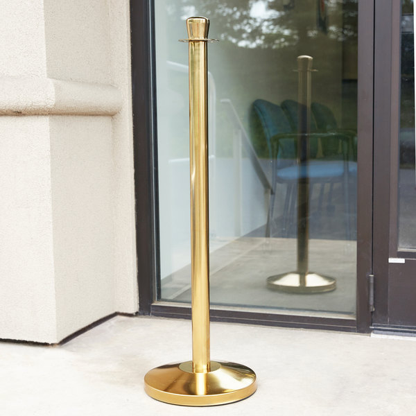 """Lancaster Table & Seating Gold 40"""" Rope-Style Crowd Control / Guidance Stanchion"""