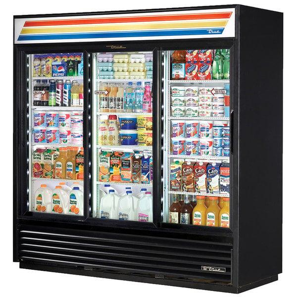 True GDM-69-HC-LD 78 inch Black Refrigerated Sliding Glass Door Merchandiser with LED Lighting
