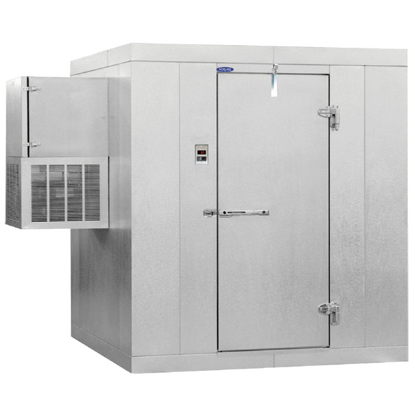 "Left Hinged Door Nor-Lake KLB74610-W Kold Locker 6' x 10' x 7' 4"" Floorless Indoor Walk-In Cooler with Wall Mounted Refrigeration"
