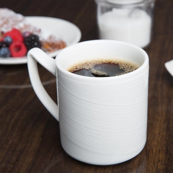 Syracuse China 987659387 Silk 12.25 oz. Royal Rideau White Porcelain Stacking Mug - 36/Case