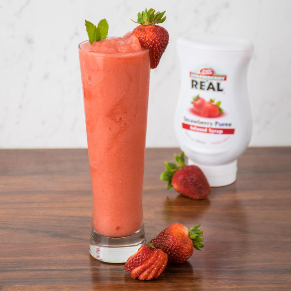 Real 16.9 fl. oz. Strawberry Puree Infused Syrup Main Image 4