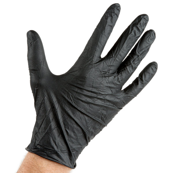 SMALL 100pc Gloves Industrial Nitrile 5 Mil Thick Powder Free Black Heavy Duty